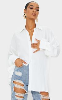 PrettyLittleThing - White Textured Pocket Front Oversized Shirt, White