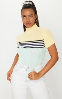 PrettyLittleThing - Lemon Stripe Knitted Short Sleeve Top, Lemon