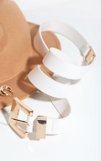 PrettyLittleThing - White Pu Gold Chunky Square Buckle Waist Belt, White
