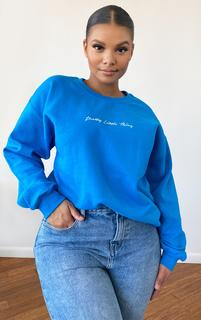 PrettyLittleThing - Plus Blue Oversized Printed Sweater, Blue