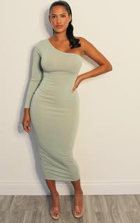 PrettyLittleThing - Shape Sage Green Soft Knit One Shoulder Midaxi Dress, Sage Green