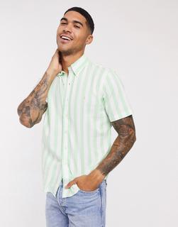 Polo Ralph Lauren - Kurzärmliges Strandhemd aus Popeline mit Blockstreifen, Button-down-Kragen und Polospieler-Logo in normaler Passform, Grün/Weiß