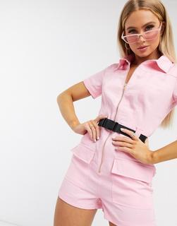 Parisian - Kurzer Utility-Jumpsuit in Rosa mit Gürtel