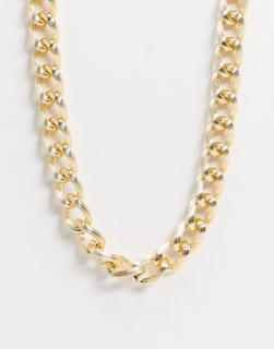 ASOS DESIGN - Goldfarbene Halskette mit strukturierten Gliedern und T-Steg-Verschluss