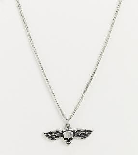 Reclaimed Vintage - Inspired – Silberfarbene Halskette mit Anhänger in geflügeltem Totenkopfdesign