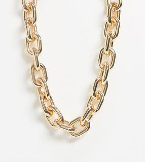 ASOS Curve - ASOS DESIGN Curve – Goldfarbene Halskette mit auffälligen Beschlägen