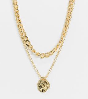 Reclaimed Vintage - Inspired – 14 Karat vergoldete, mehrreihige Halskette mit Münzanhänger