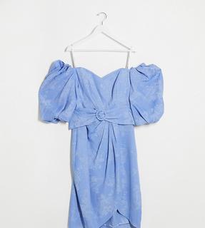 Forever New Curve - Kleid mit Puffärmeln und Gürtel in Lavendelblau