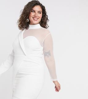 In The Style Plus - x Saffron Barker – Asymmetrisches Minikleid aus Netzstoff in Weiß