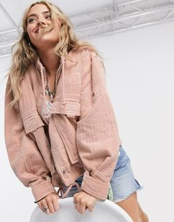 Free People - Eyes On You– Rosa Jacke mit Tasche