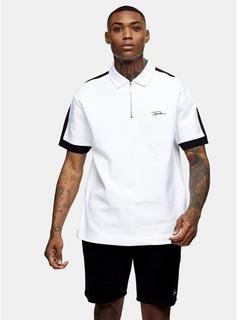 Topman - Mens Signature White Zip Oversized Polo, White