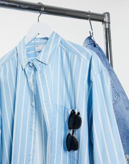 ASOS DESIGN - Übergroßes, gestreiftes Oxford-Hemd im Stil der 90er in Blau