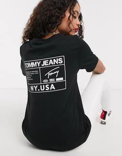 Tommy Jeans - T-Shirt mit Logo hinten in Schwarz