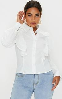PrettyLittleThing - Petite White Broderie Anglaise Frill Blouse, White