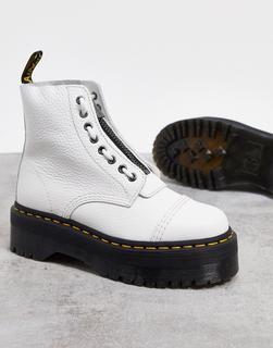 DR. MARTENS - Sinclair – Weiße Lederstiefel mit flacher Profilsohle