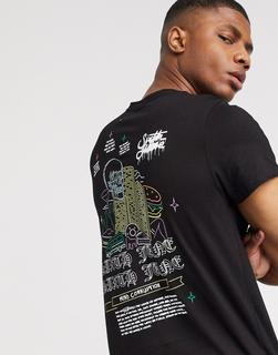 "Sixth June - Schwarzes T-Shirt mit rückseitigem ""Sin""-Print"