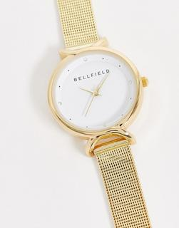Bellfield - Uhr mit goldenem Netzarmband aus Edelstahl
