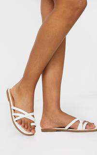 PrettyLittleThing - White PU Cross Over Toe Loop Flat Mule Sandals, White