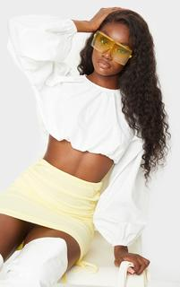 PrettyLittleThing - Tall White Balloon Sleeve Cropped Blouse, White