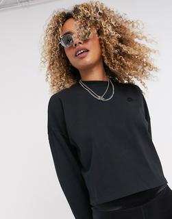 Nike - Premium – Schwarzes Jersey-Oberteil mit 3/4-Ärmeln