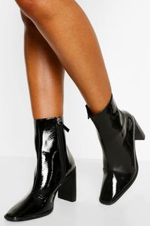 boohoo - Womens Square Toe Block Heel Shoe Boots - Black - 8, Black