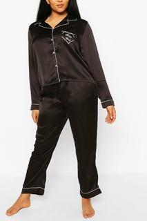boohoo - Womens Plus 'Sleepyhead' Satin Pj Trouser Set - Black - 18, Black