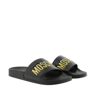 Moschino - Schuhe - Logo Slides Black Gold - in schwarz - für Damen