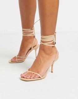 SIMMI Shoes - Simmi London – Kimberly – Riemensandalen mit Knöchelschnürung in Beige