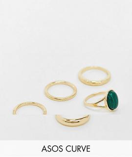 ASOS Curve - ASOS DESIGN Curve – Ringe mit grünem Malachit und Strukturmix im 5er-Set in Goldoptik