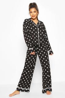 boohoo - Womens Polka Dot Button Through Pyjama Trouser Set - Black - 12, Black