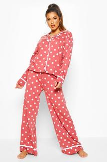 boohoo - Womens Polka Dot Button Through Pyjama Trouser Set - Pink - 8, Pink