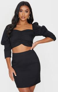 PrettyLittleThing - Petite Black Ruched Blouse, Black