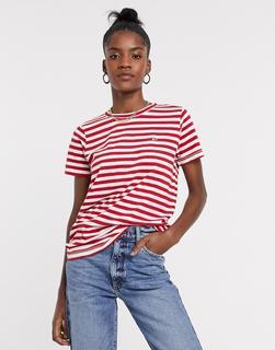 Tommy Jeans - Strukturiertes, gestreiftes T-Shirt in Rot
