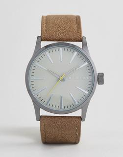 Bellfield - Uhr mit braunem Armband und grauem Zifferblatt-Schwarz