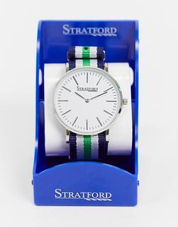 Stratford - Silberne Nylon-Armbanduhr mit Military-Design
