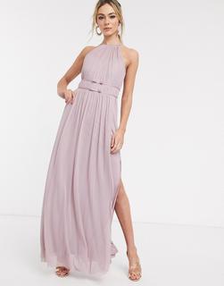 Lipsy - Langes Maxi-Ballkleid mit Neckholder in Lavendel-Violett