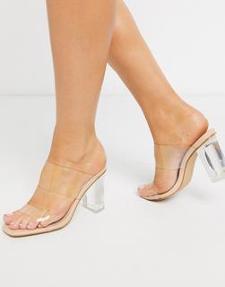 SIMMI Shoes - Simmi London – Kimana – Sandalen in Beige mit transparentem Design