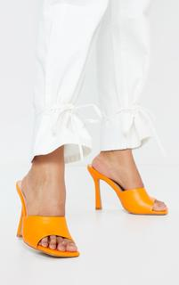 PrettyLittleThing - Orange Square Toe Mule High Heels, Orange