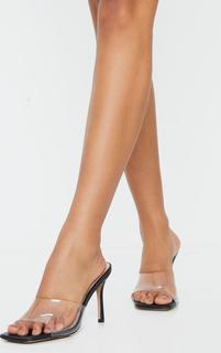 PrettyLittleThing - Black Clear Strap Square Toe Mule Mid Heels, Black