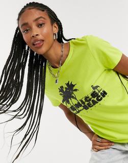 ONLY - Kitti – Kurzärmliges T-Shirt in Limettengrün-Weiß