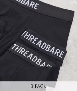 Threadbare - Boxershorts aus Jersey im 3er-Pack-Schwarz