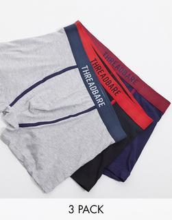 Threadbare - Jersey-Boxershorts mit Kontrast-Logobund im 3er-Pack-Mehrfarbig
