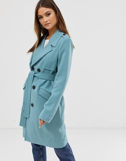 Vero Moda - Trenchcoat mit Gürtel in Colourblock-Design-Blau