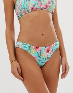 Accessorize - Geblümte Hüft-Bikinihose mit Kräuselung-Mehrfarbig