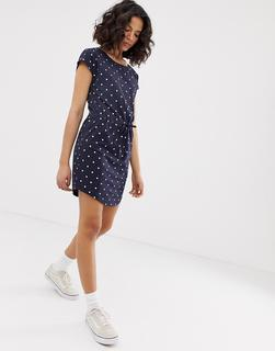 ONLY - Gepunktetes Kleid mit Bindeband-Mehrfarbig