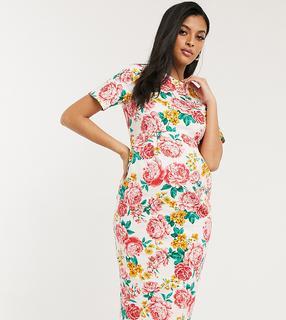 ASOS Maternity - ASOS DESIGN Maternity – Lockeres Midikleid mit Blumenmuster, Umstandsmode-Mehrfarbig