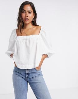 MANGO - Popeline-Bluse mit eckigem Ausschnitt und Puffärmeln in Weiß