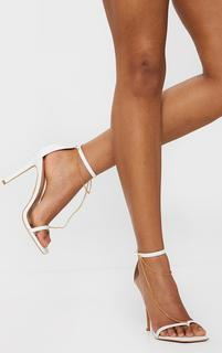 PrettyLittleThing - White Square Front Chain Detail High Heels, White