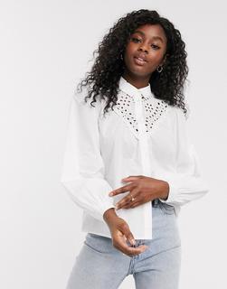 New Look - Weiße Bluse mit Lochstickerei