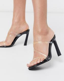 SIMMI Shoes - Simmi London – True – Transparente Pantoletten in Schwarz